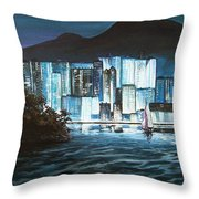 Energetic Blue Throw Pillow