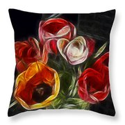 Energetic Tulips Throw Pillow