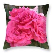Energizing Pink Roses Throw Pillow