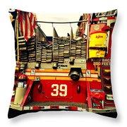 Engine 39 - New York City Fire Truck Throw Pillow