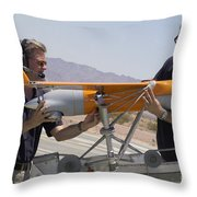 Engineers Mount A Scaneagle Unmanned Throw Pillow