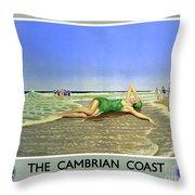 England Cambrian Coast Vintage Travel Poster Throw Pillow