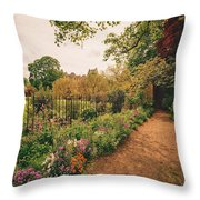 England - Country Garden And Flowers Throw Pillow