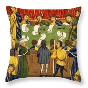 England: Court, 15th Century Throw Pillow
