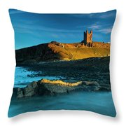 England, Northumberland, Dunstanburgh Castle Throw Pillow