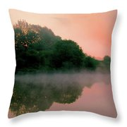 England Pond At Sunrise Throw Pillow