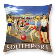 England Southport Restored Vintage Travel Poster Throw Pillow