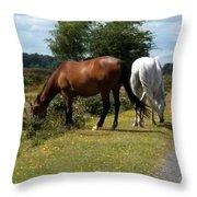 England - Wild Horses Throw Pillow