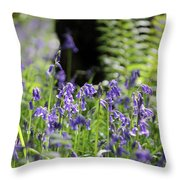 English Bluebell Wood Throw Pillow