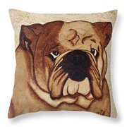 English Bulldog Coffee Painting Throw Pillow
