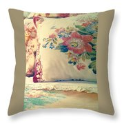 English Chintz With Green Tone Throw Pillow