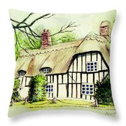 English Cottage In Cambridgshire Throw Pillow