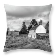 English Cottage In Winter Throw Pillow