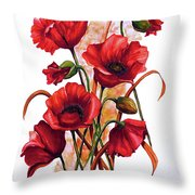 English Poppies 2 Throw Pillow