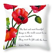 English Poppy   Poem Throw Pillow