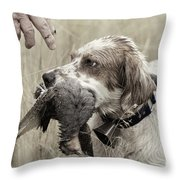 English Setter And Hungarian Partridge - D003092a Throw Pillow by Daniel Dempster