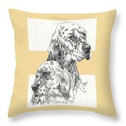 English Setter And Pup Throw Pillow