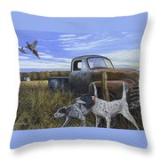 English Setters With Old Truck Throw Pillow