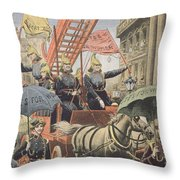 English Suffragettes Dressed As Firemen Throw Pillow