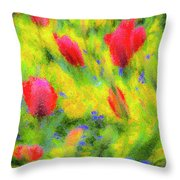 English Summer Flowers Pastel Throw Pillow