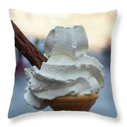 English Vanilla Ice Cream Cone And Flake Throw Pillow