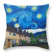English Village In Van Gogh Style Throw Pillow