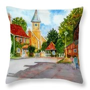 English Village Street Throw Pillow