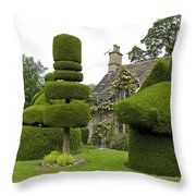 English Yew Topiary Throw Pillow