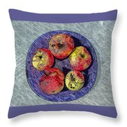 Engraved Wormy Apples Throw Pillow