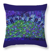 Enhanced Blue City On A Hill Throw Pillow
