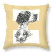 English Pointer And Pup Throw Pillow
