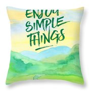 Enjoy Simple Things Rice Paddies Watercolor Painting Throw Pillow