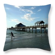 Enjoy The Beach - Clearwater Pier Throw Pillow