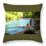 Enjoying The Cool Creek Throw Pillow