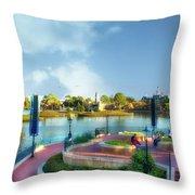Enjoying The Shade World Showcase Lagoon Walt Disney World Throw Pillow