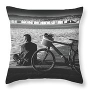 Enjoying The Sun In Greece Throw Pillow
