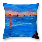 Enjoying The Sunset Differently Throw Pillow