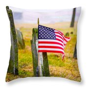 Enriched American Flag - Remember Throw Pillow
