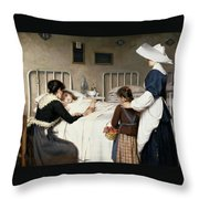 Enrique Paternina Garcia Cid - Mother Visit To The Hospital 1892 Throw Pillow