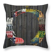 Enso Symbol Recycled Vintage Michigan License Plate Art Throw Pillow