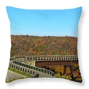 Enter The Kinzua Skywalk Throw Pillow
