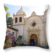 Entering The Church Sanctuary At Carmel Mission-california  Throw Pillow