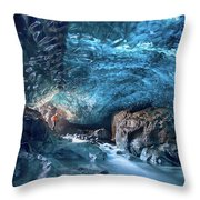 Entering The Ice Cave Throw Pillow