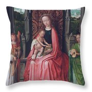 Enthroned Virgin And Child, With Angels Throw Pillow