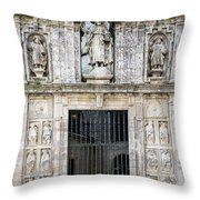 Entrance Facade In Landmark Cathedral Of Santiago De Compostela  Throw Pillow