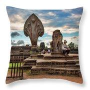 Entrance To Angkor Wat  Throw Pillow