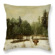 Entrance To The Forest In Winter Throw Pillow by Cherubino Pata