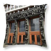 Entrance To The National Assembly Building Of Slovenia Slovenian Throw Pillow
