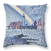 Entrance To The Port Of Honfleur Throw Pillow