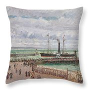 Entrance To The Port Of Le Havre And The West Breakwaters Throw Pillow